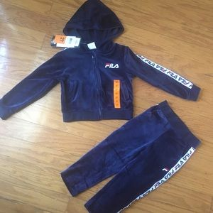 NWT FILA Navy 2 pcs hoodie jogger outfit set